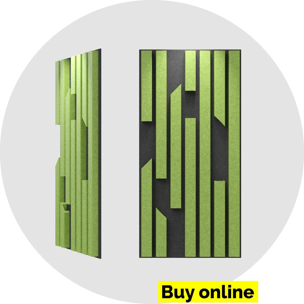 acoustic panel 2x4 bars -moss on slate