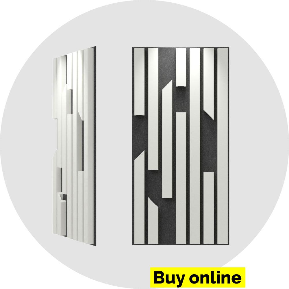 acoustic panel 2x4 bars - pearl on slate