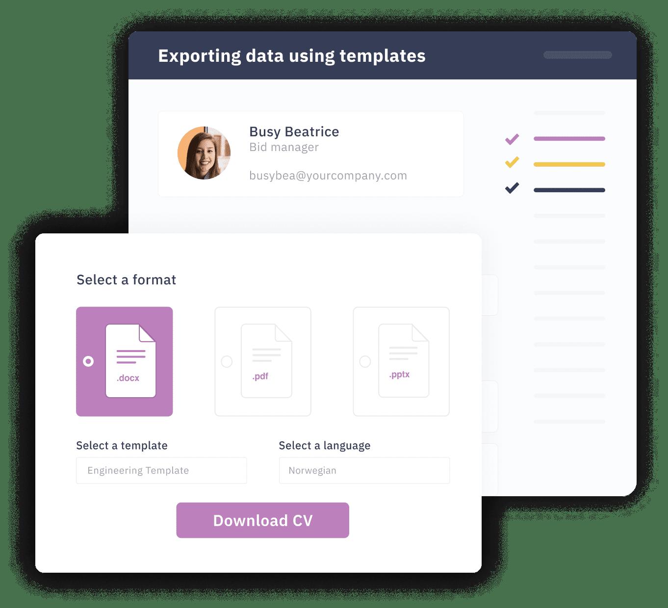 Export data using custom templates