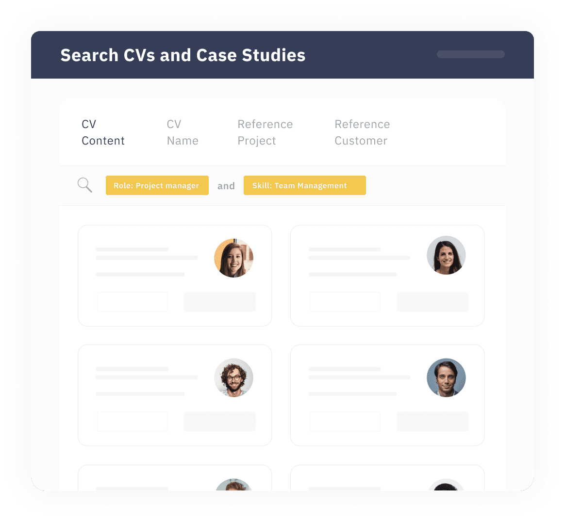 Search CVs and Case studies