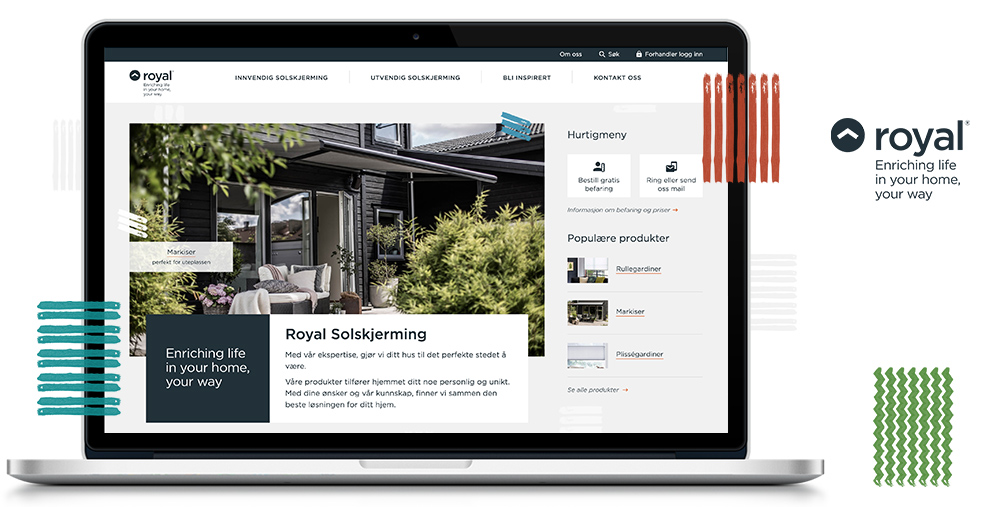 Nettside og webdesign for Royal Solskjerming