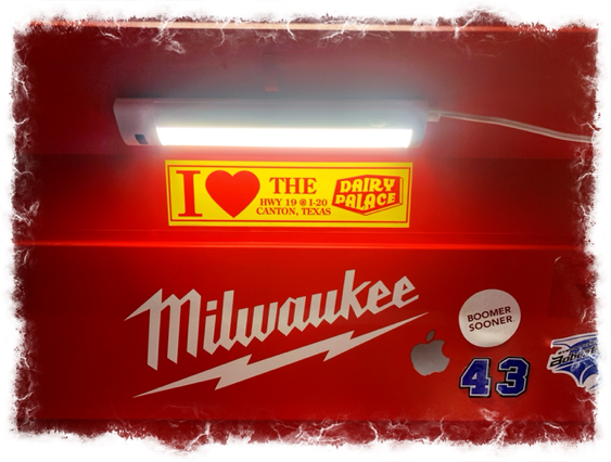 Dairy Palace bumper sticker on toolbox in Trophy Club TX