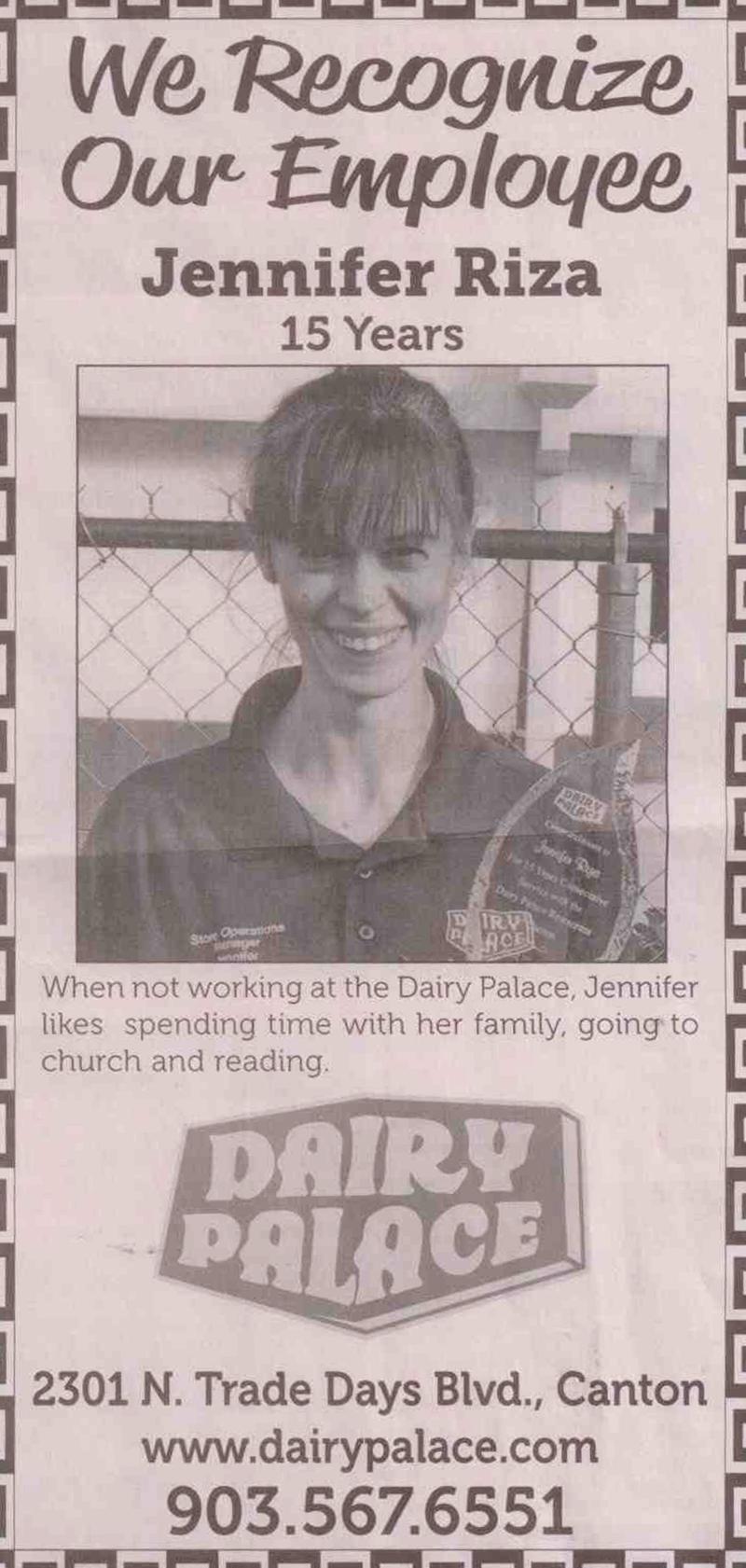 Jennifer-Riza-Canton-TX-Dairy-Palace-15-years