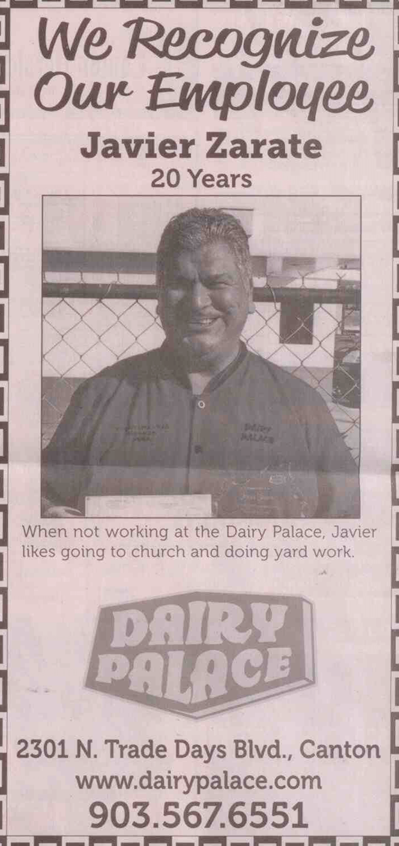 Javier-Zarate-Canton-TX-Dairy-Palace-20-years