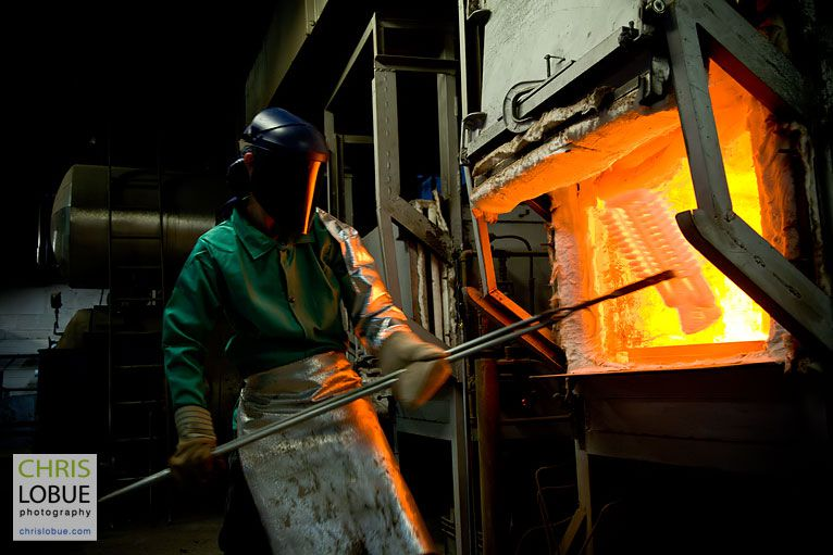 Steel furnace operator - Chris Lo Bue Industrial Photography