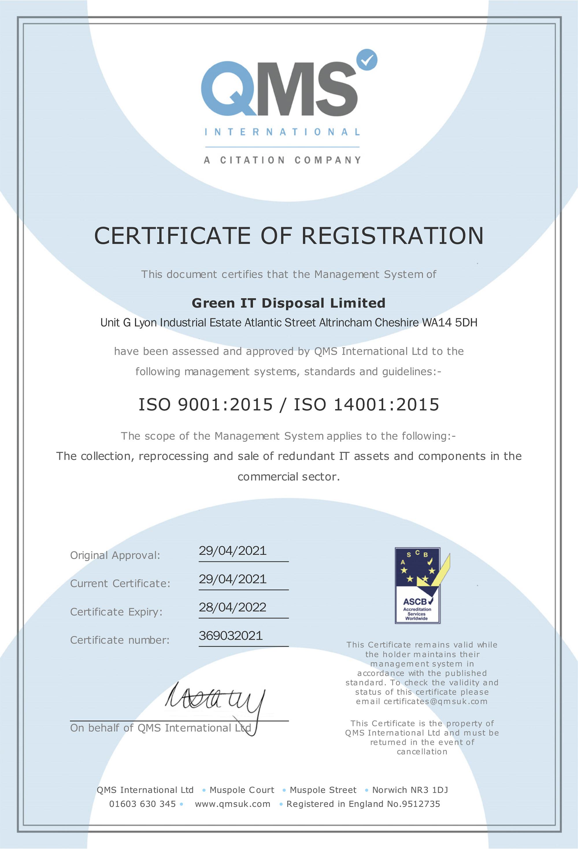 GreenIT Certificate of Registration ISO 9001 & ISO 14001