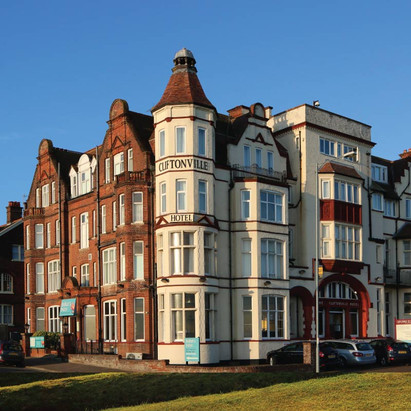 The outside of  the Cliftonville Hotel, Cromer, Norfolk