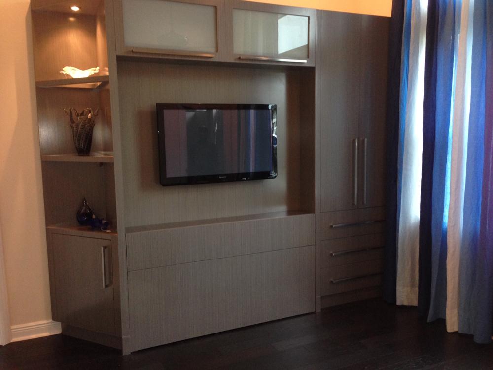 Zoom Room Bed And Storage Unit In Grey Obeche Veneer