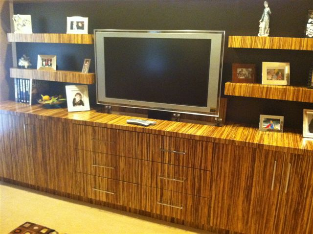 Bamboo/ Wenge Media Unit with Pop-Up Widescreen TV