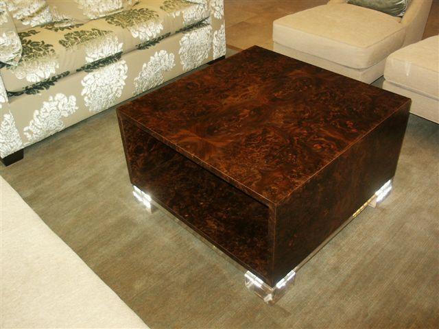 Matched Walnut Burl/ Acrylic Coffee Table
