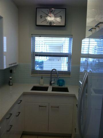 Glossy White Acrylic Condo Kitchen