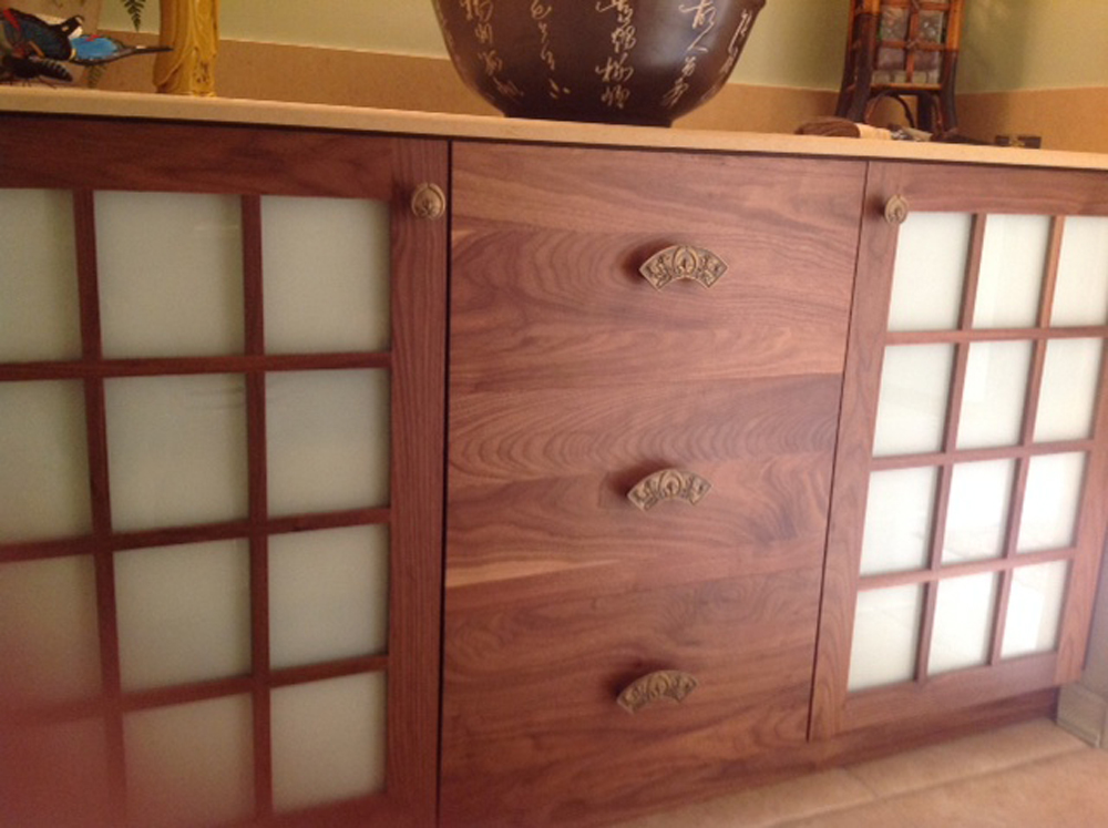 Asian Style Bathroom Vanities In Natural Walnut And Stained Malle