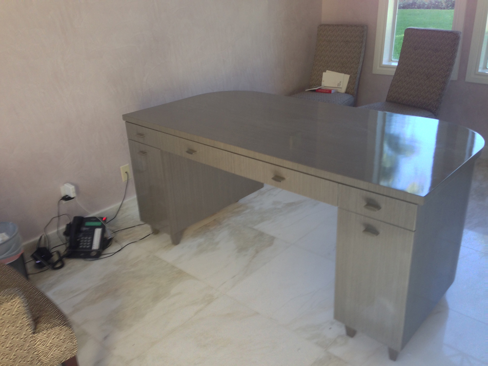 High Gloss Obeche Veneer Home Office Desk And Wall Unit