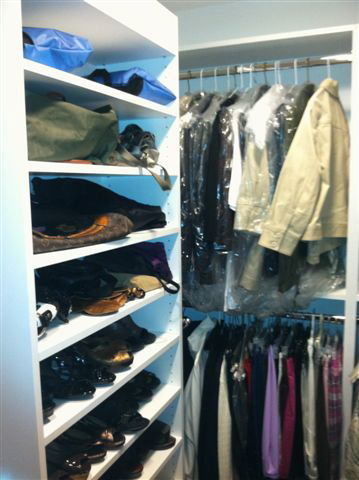 White Walk-In Closet With Drawers