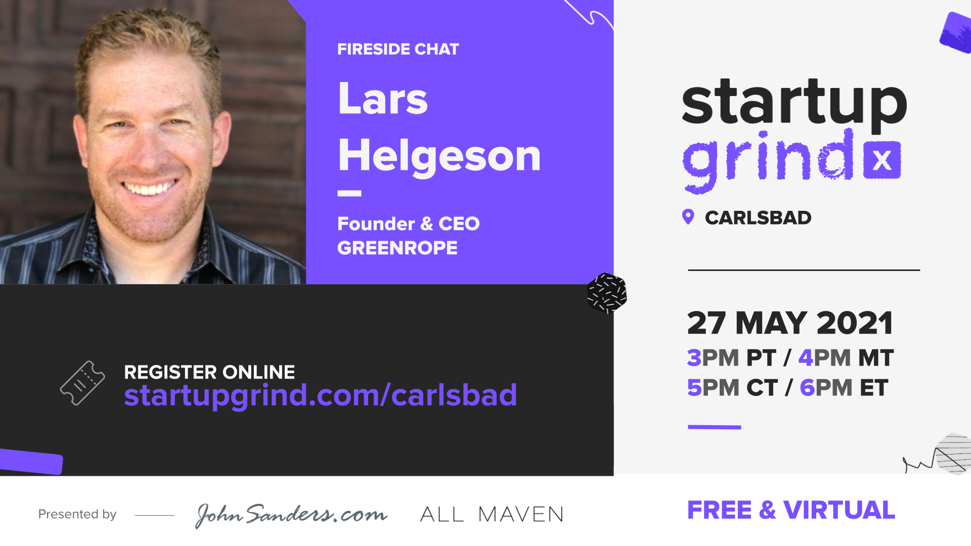 Startup Grind Carlsbad with Lars Helgeson of Green Rope