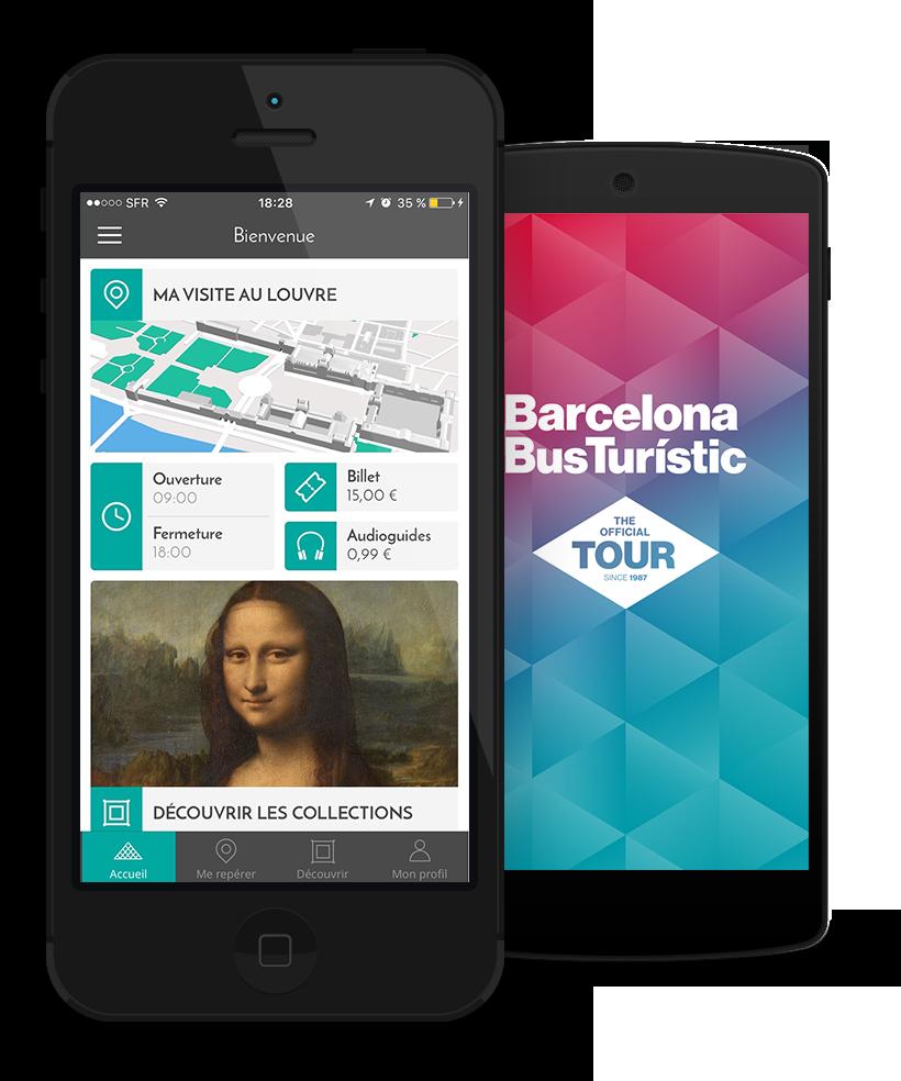 Aplicación del museo del Louvre et del Bus Turístic de Barcelona