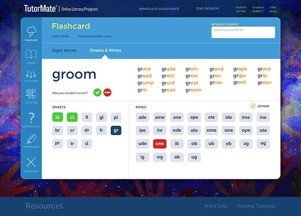 Screenshot of TutorMate tutor interface, flashcard game.