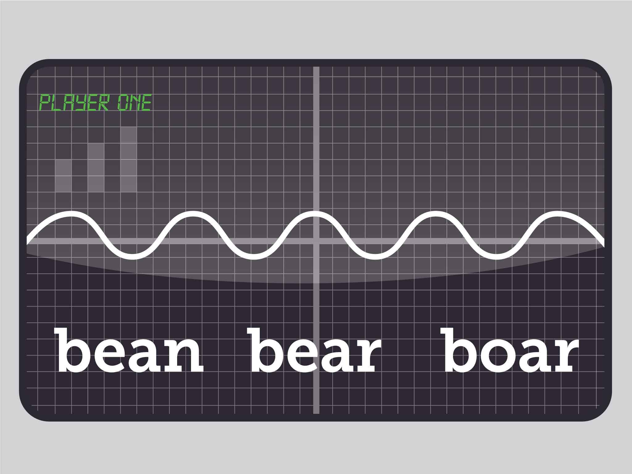 Screen 3: A waveform moves and three words are displayed for player to guess what they've heard.
