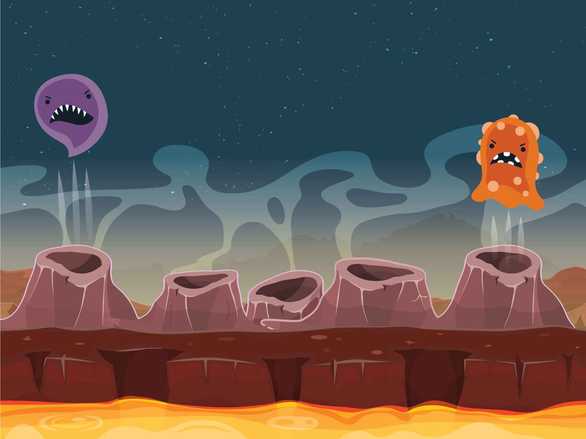 Space critters pop out of volcanic vents in a whack-a-mole style game.