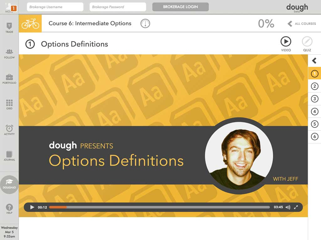Screenshot of dough video lesson, 'Options Definitions'.