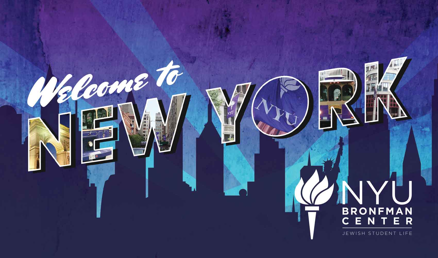 Postcard design for NYU Bronfman Center, 'Welcome to New York'.