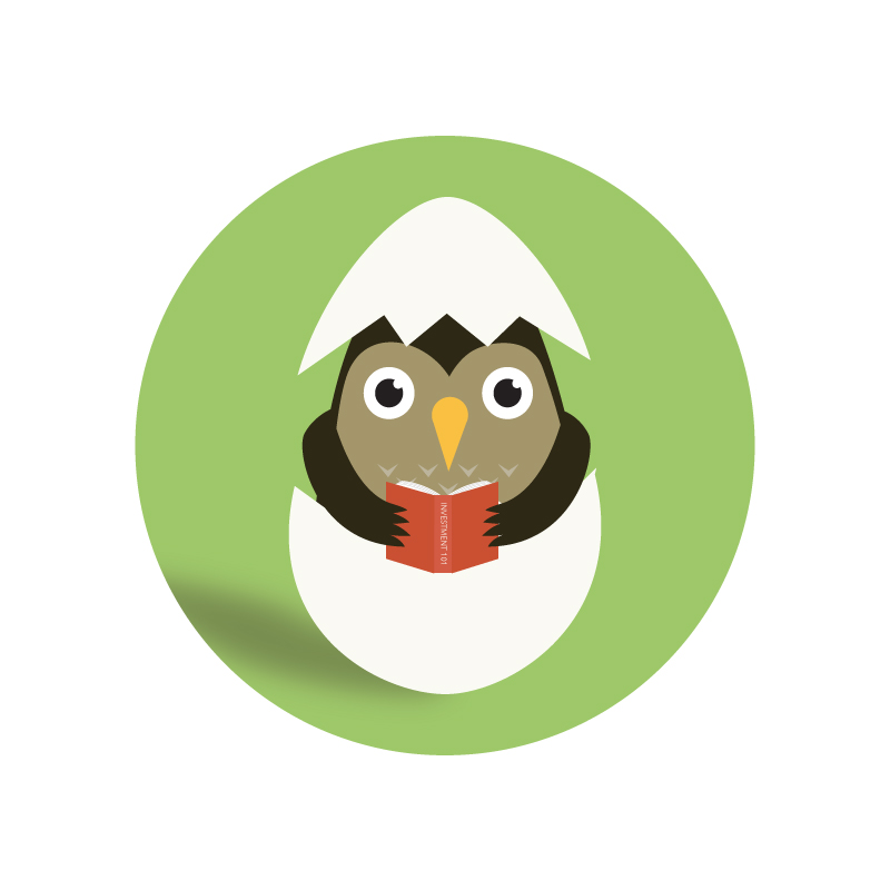 Illustration of a baby owl hatching from an egg, holding a book.