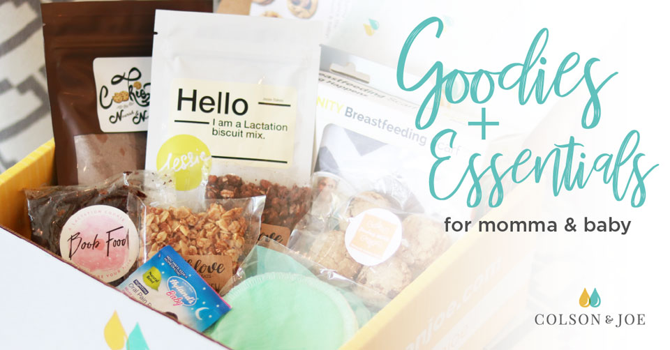 Colson & Joe social media post: Goodies and essentials for momma and baby