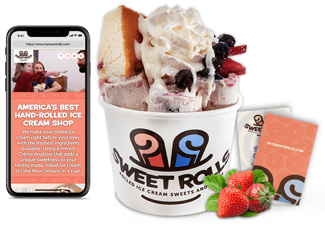 Sweet Rolls' rolled ice cream, website on an iPhone, and business cards