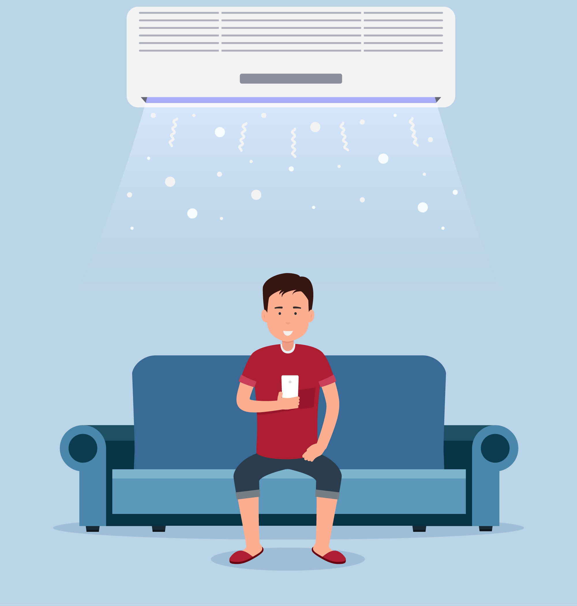 llustration of smiling man in red shirt sitting on couch under ductless cooling unit