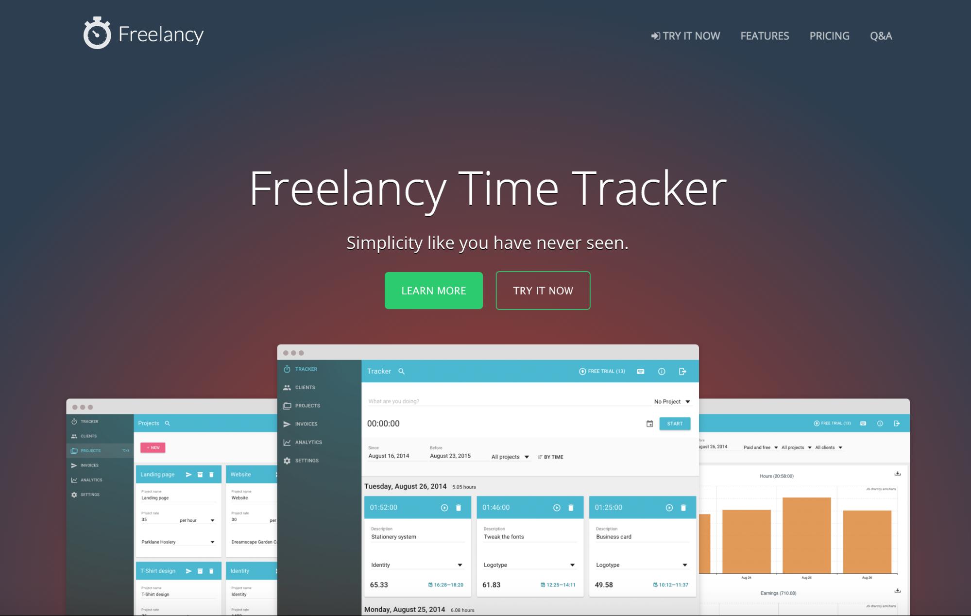 Freelancy app homepage