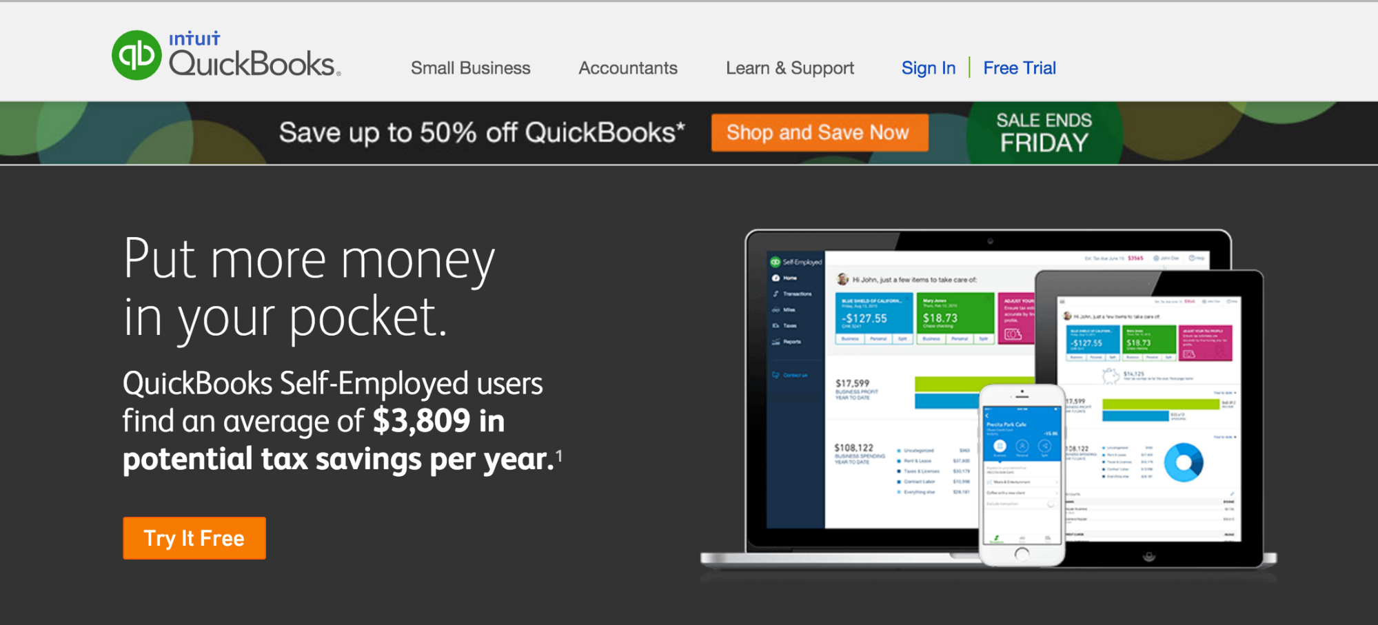 QuickBooks Self-Employed homepage