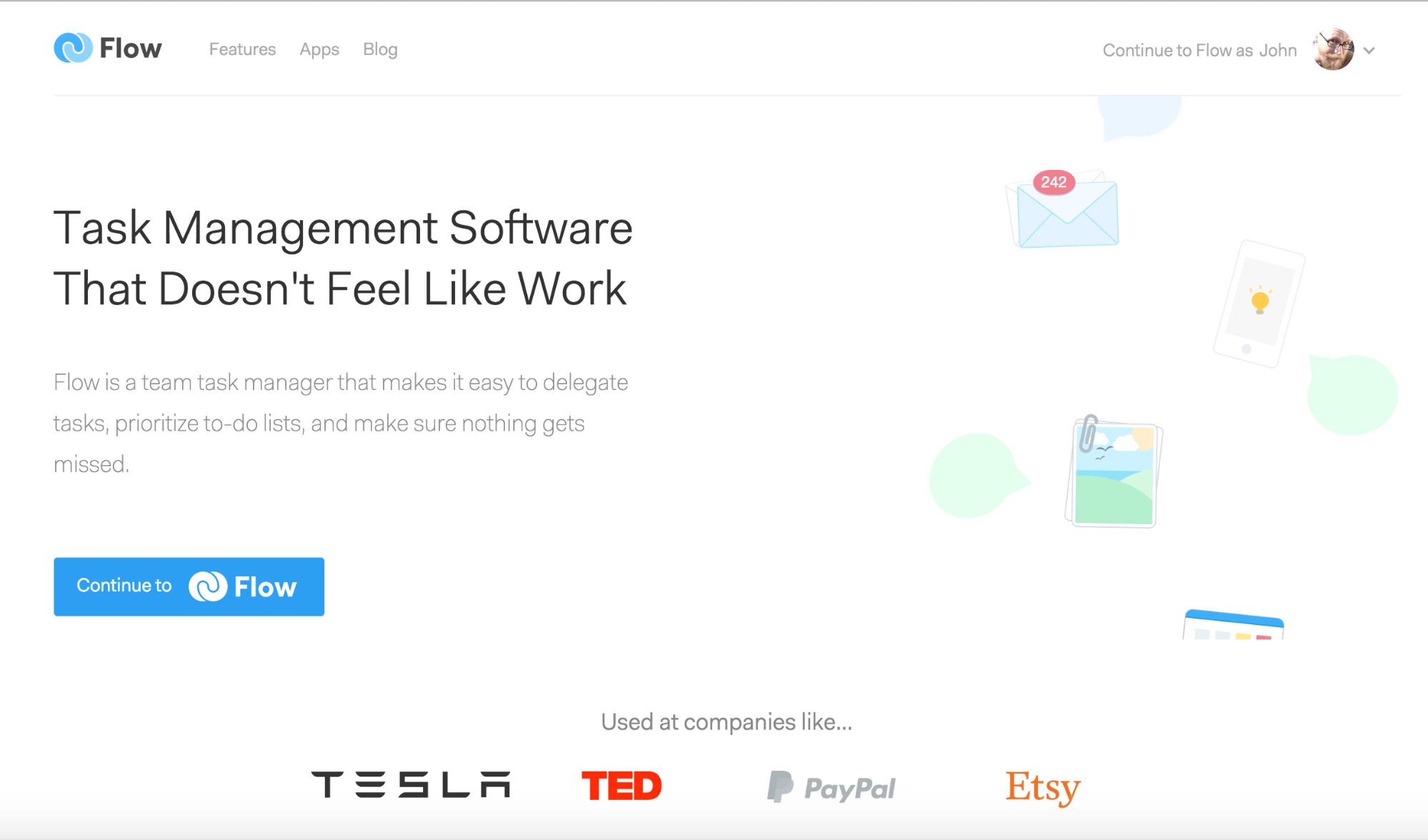 Flow app homepage