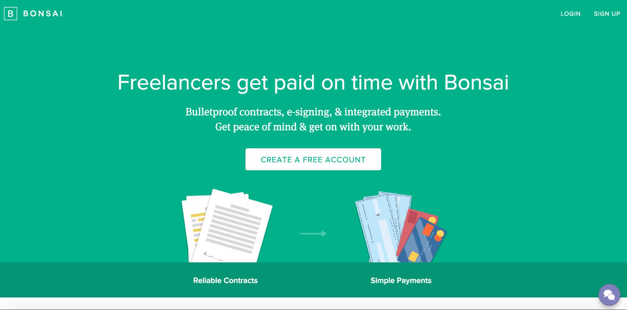 Bonsai app homepage