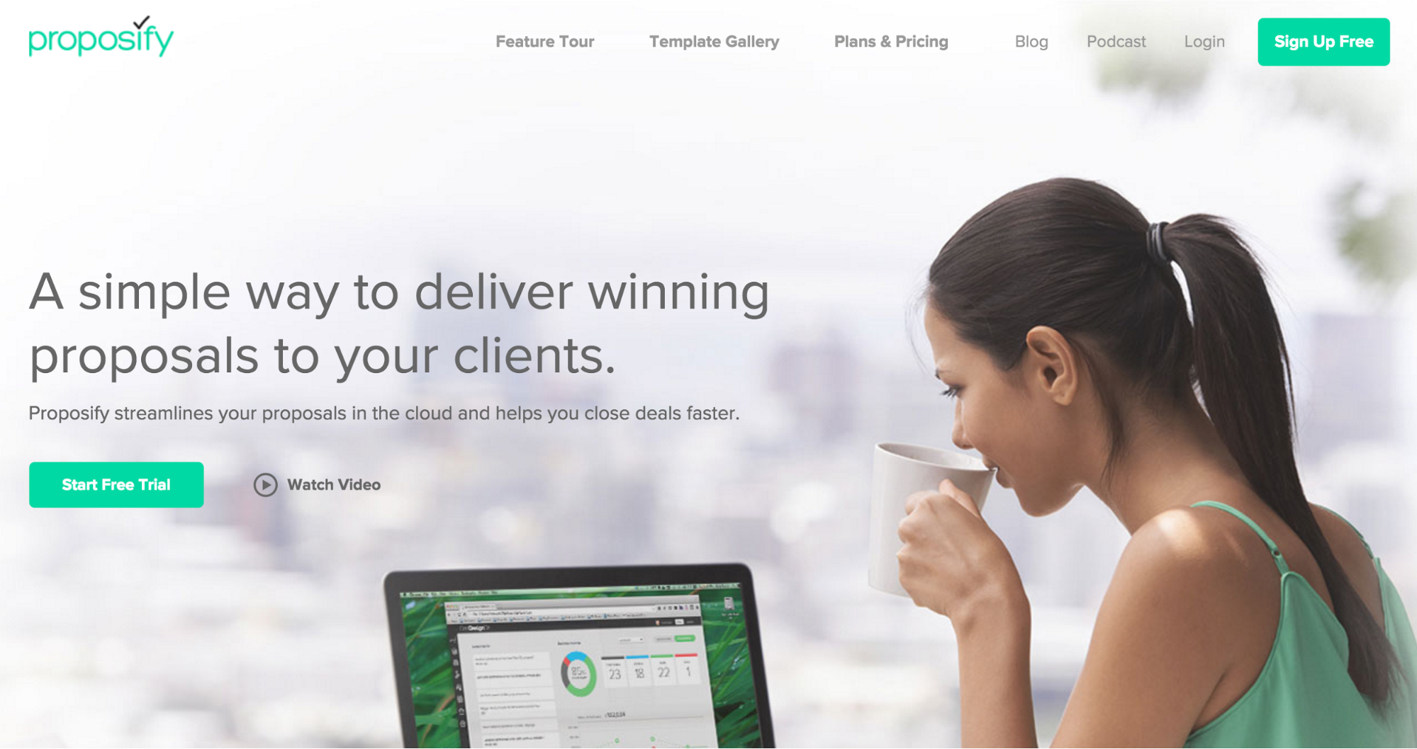 Proposify app homepage