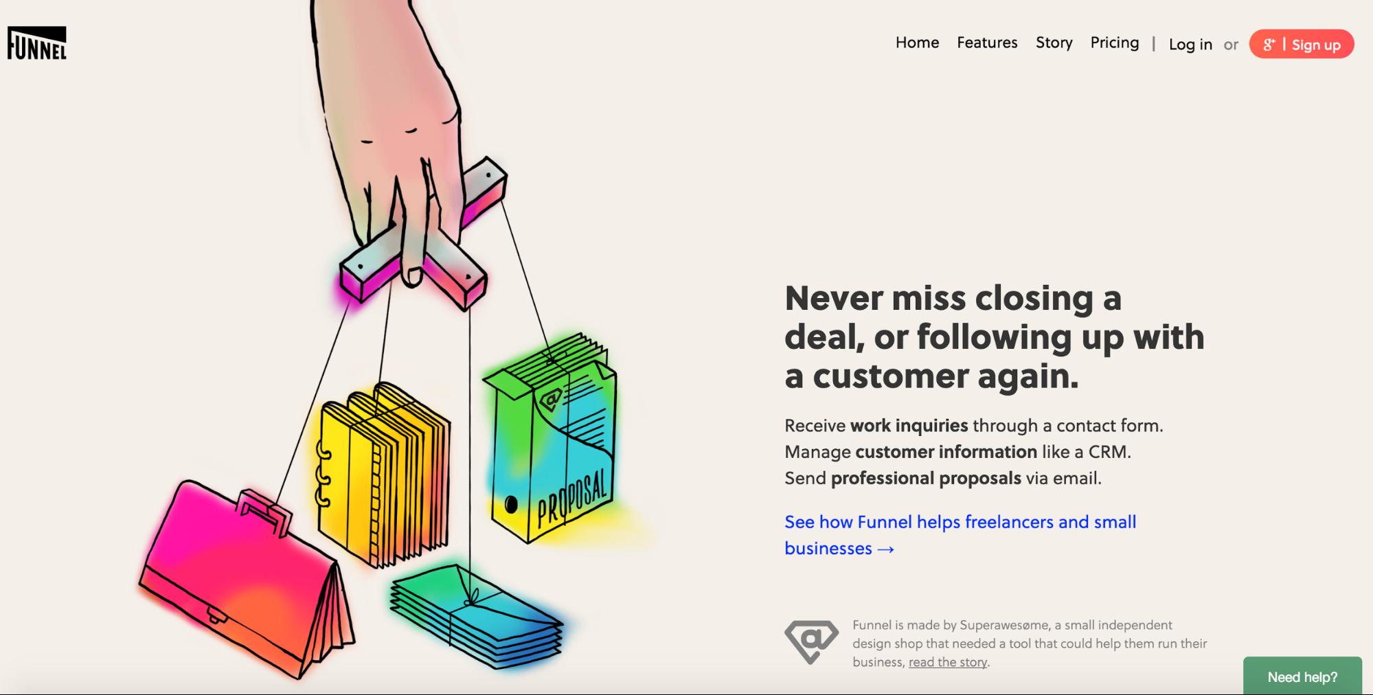 Funnel app homepage
