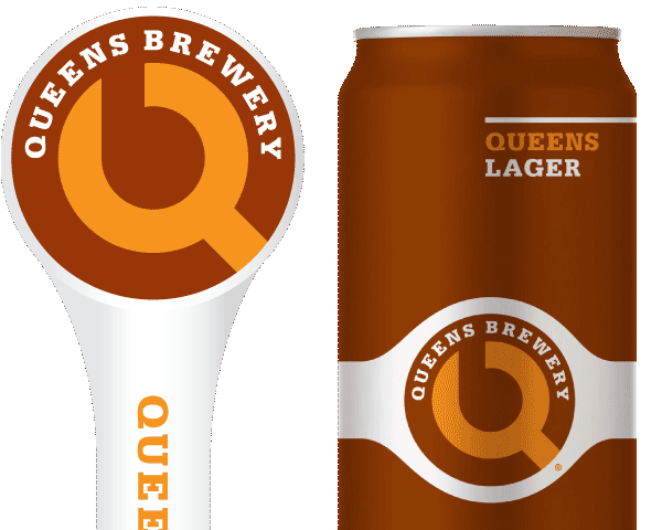 Queens Lager tap handle and 16oz. can