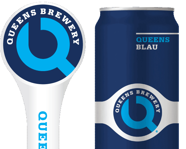 Queens Blau tap handle and 16oz. can