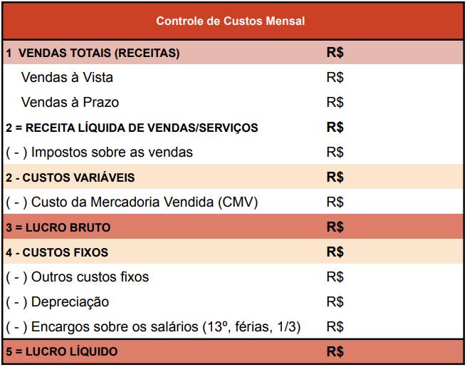 controle de custos mensal