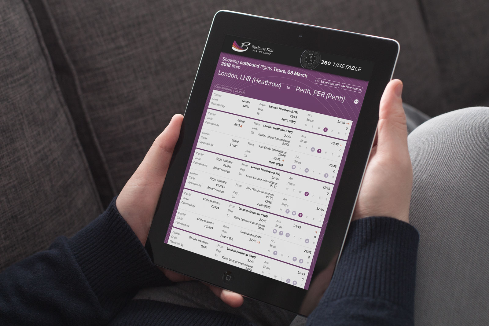Timetable app for corporate travel management