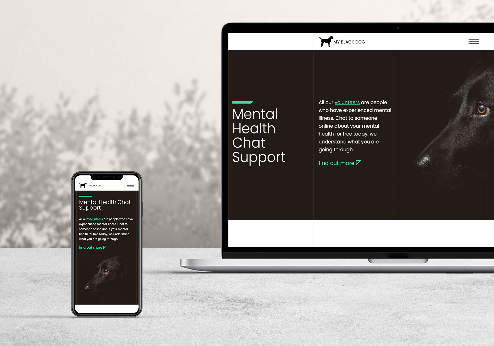 New charity website design for mental health chat service