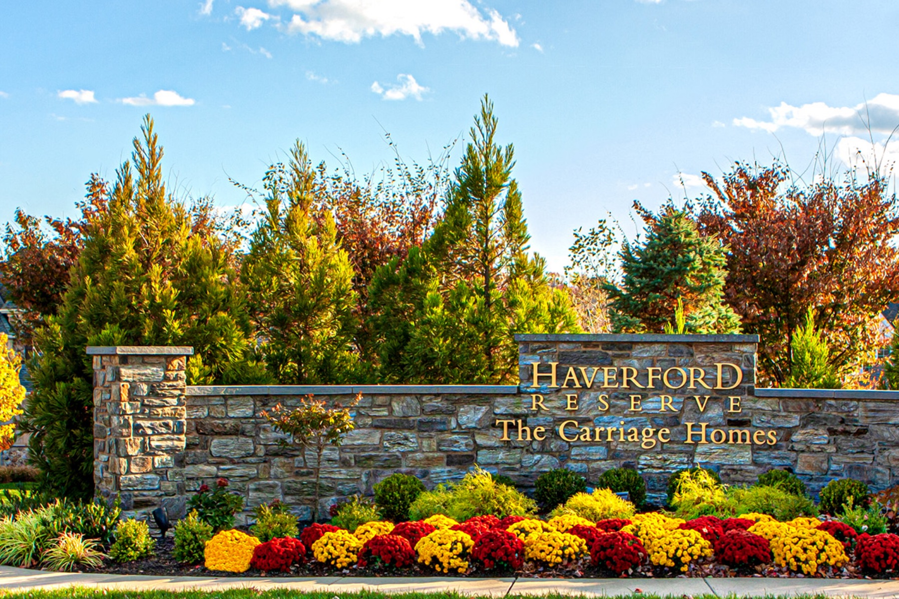 Entrance sign to the Carriage Homes at Haverford Reserve