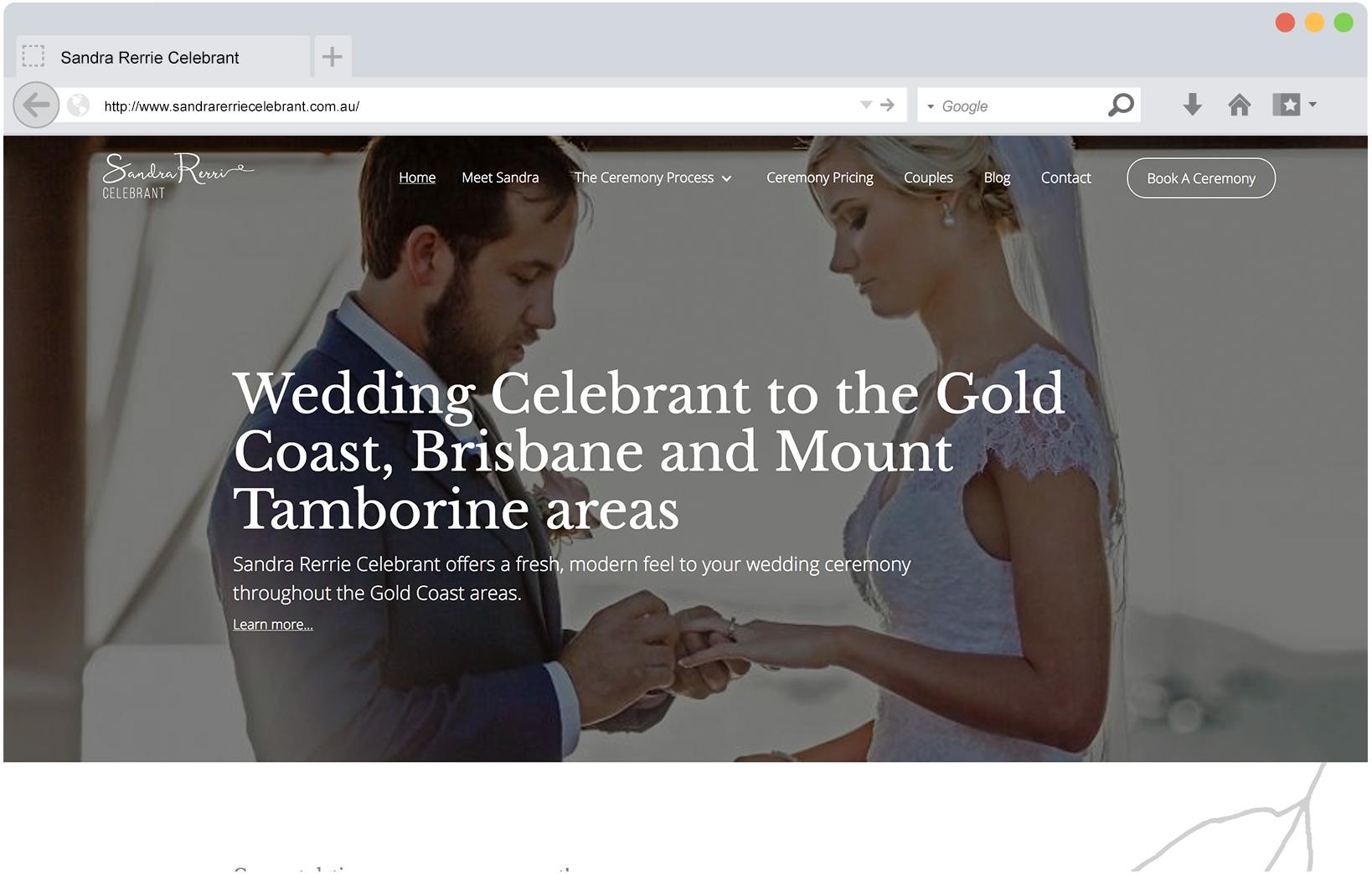 Front view of sandra rerrie celebrant website