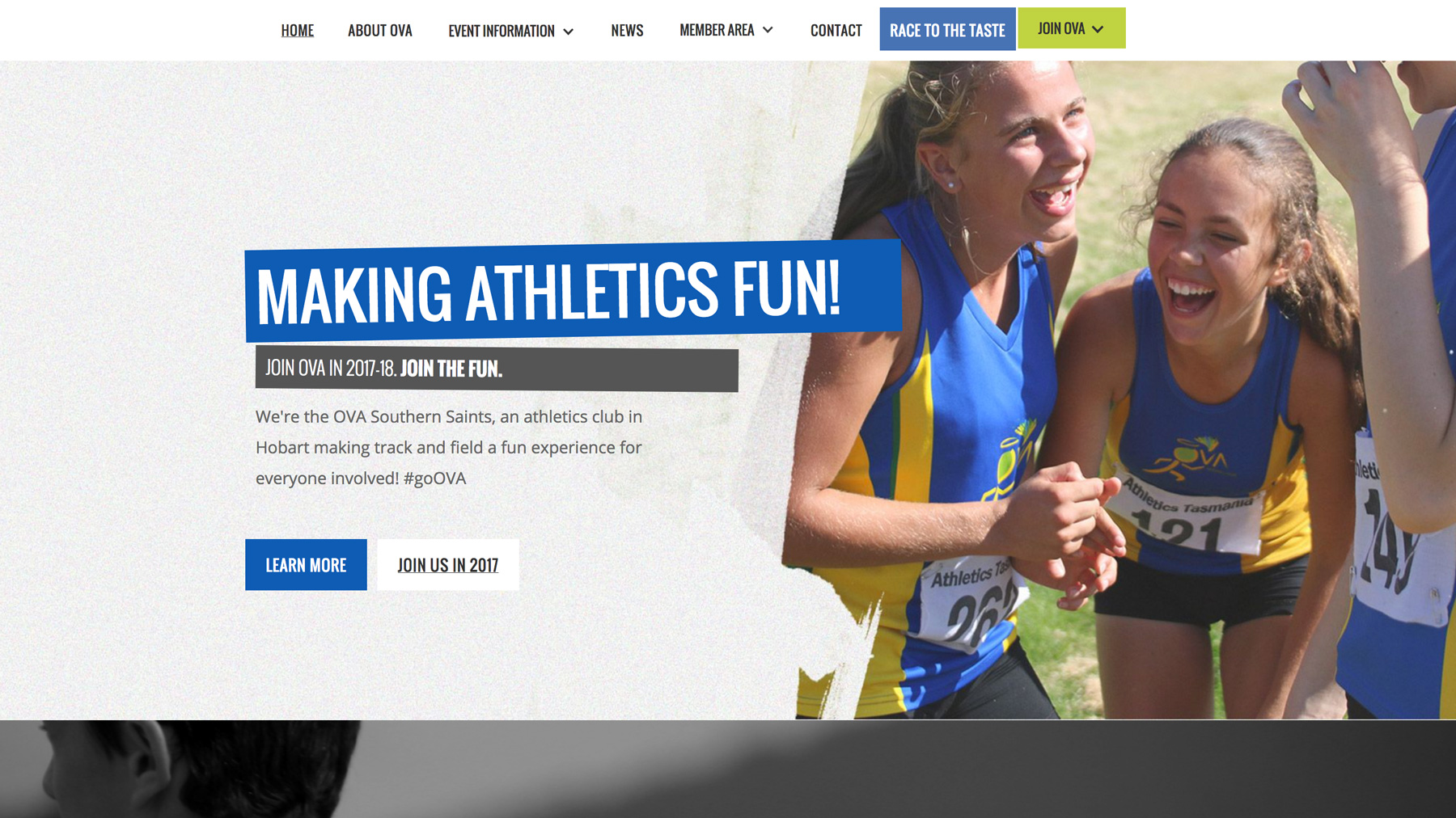 The OVA Southern Saints website enhances the clubs physical image to the online space.