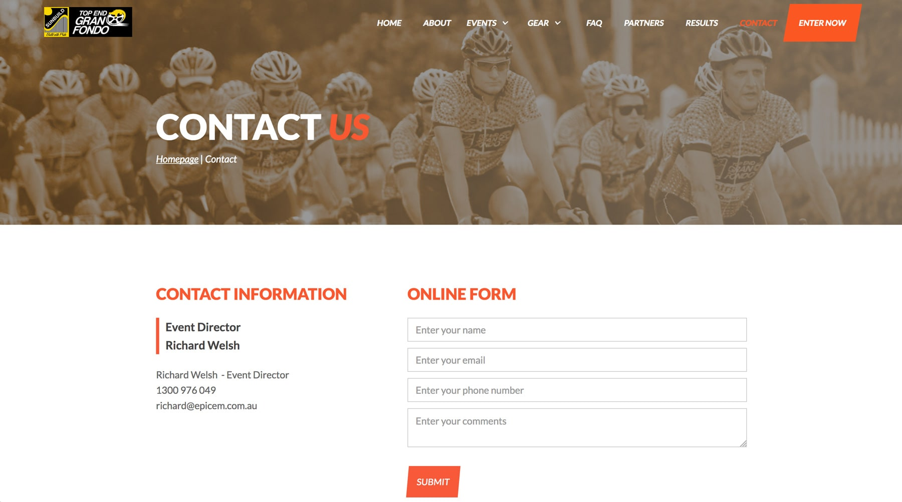 contact us screen preview of the website