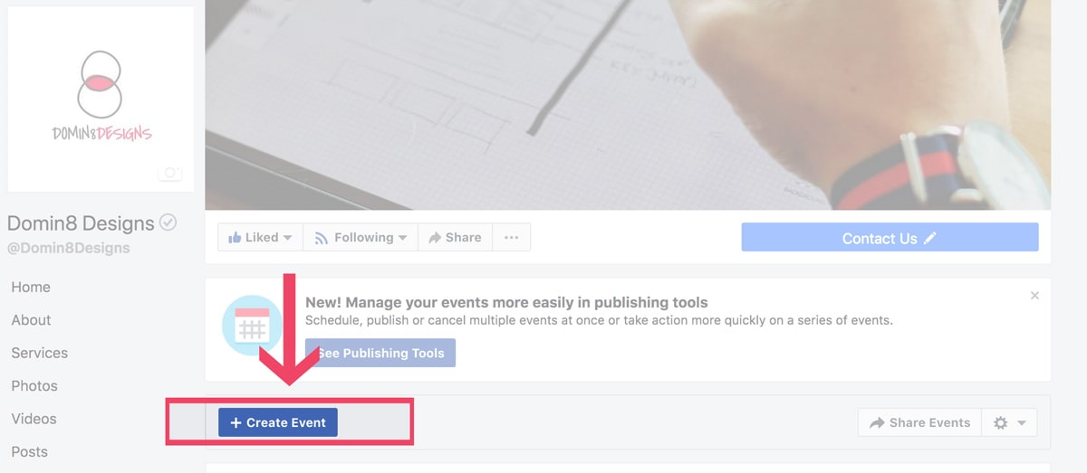 screenshot of a facebook page showing how to create event
