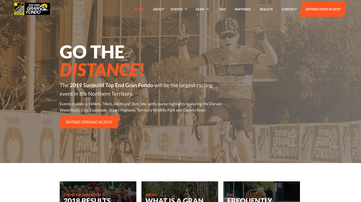 full page preview of top end gran fondo website