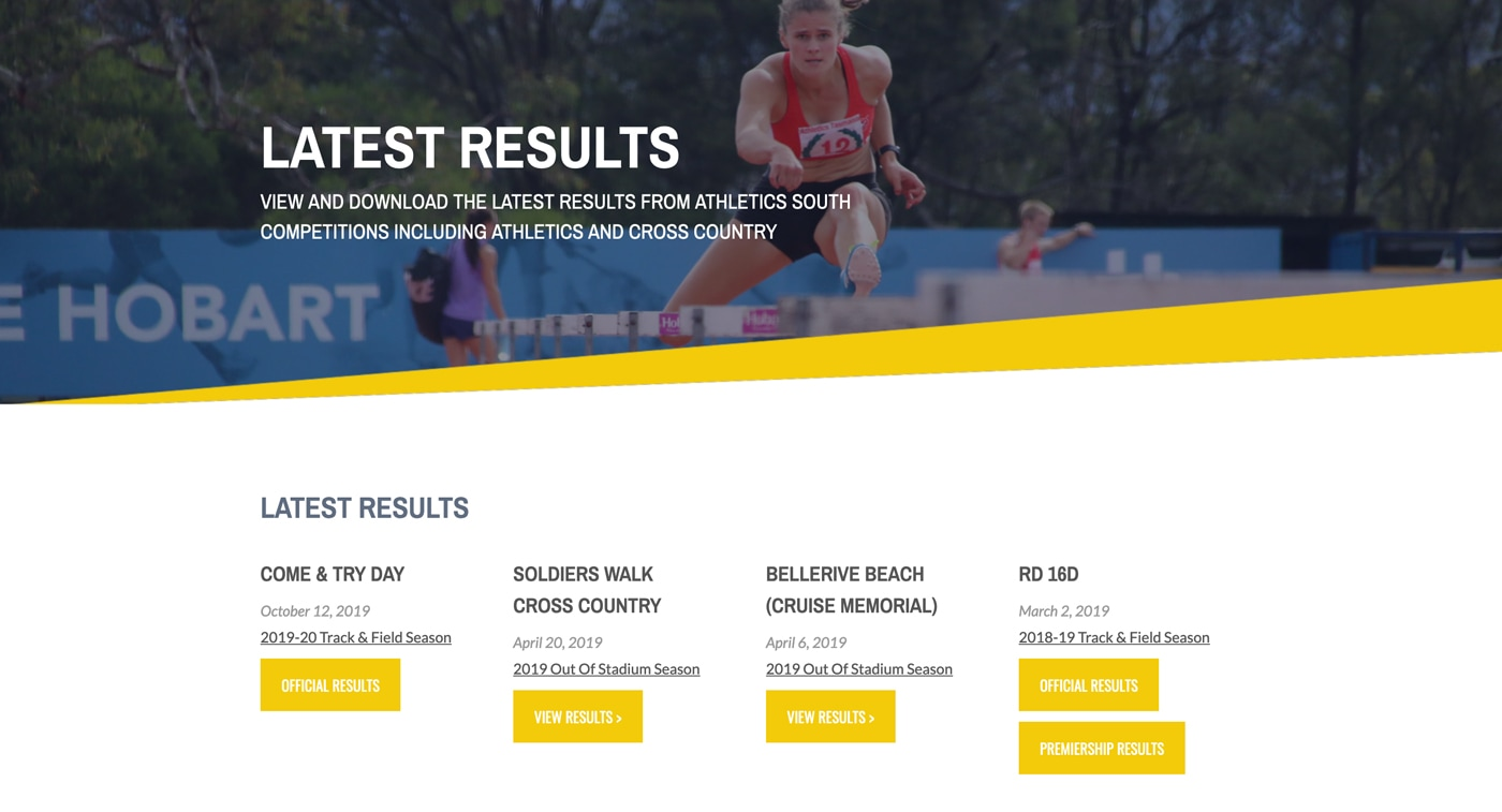 Screen shot of the results page