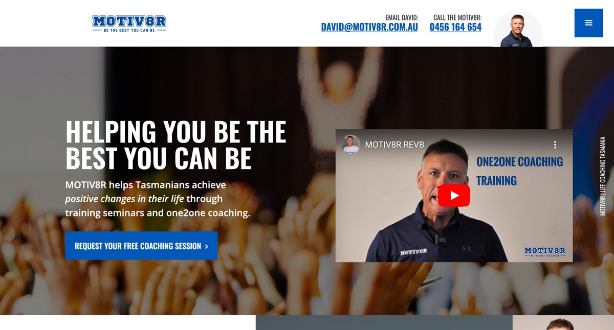 The homepage of the MOTIV8R website has a focus on strong messages.