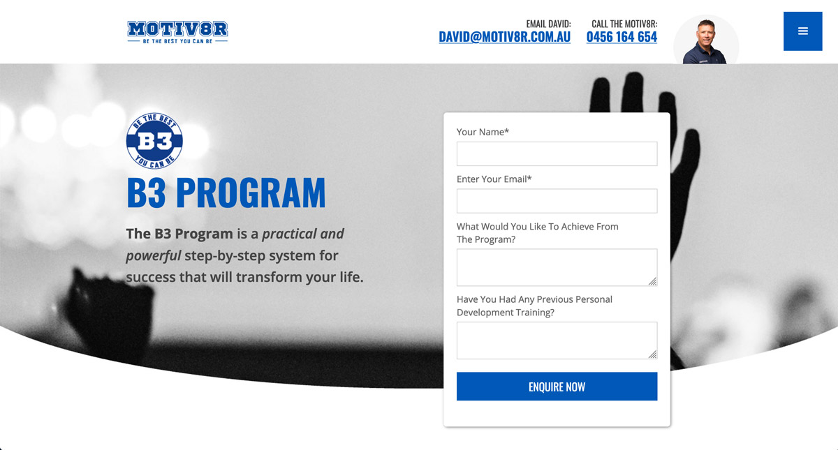 Program pages feature a visible signup form.