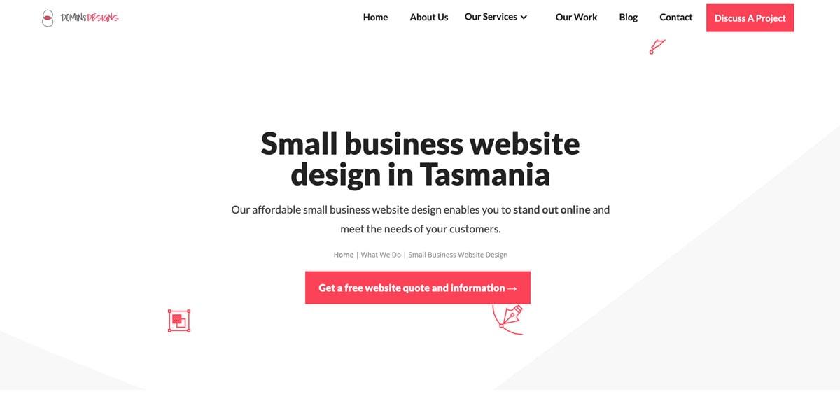 screenshot of domin8 designs website